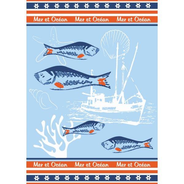 Torchon motif Bateau de pêche et Poissons