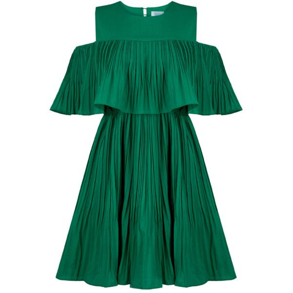 Vera Green Cold Shoulder Dress ($84) ❤ liked on Polyvore featuring dresses, cut-out shoulder dresses, formal occasion dresses, green dress, jovonna and cold shoulder dresses