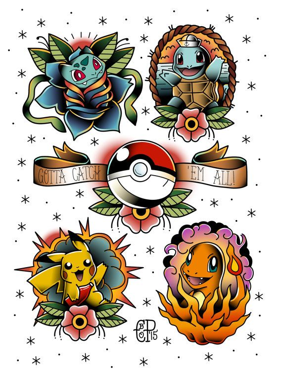 Tattoo flash print of the Original 3 starters plus Pikachu. Roughly 8.5x11 Reproduction of the original piece which was created by hand & digitally.