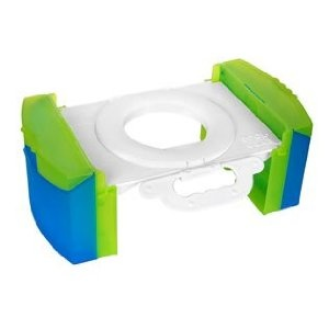 Travel Potty Chair for the CAR! Uses regular ziplock bags! Folds up flat. It was awesome for us! A MUST for girls, and for boys that need to poop.
