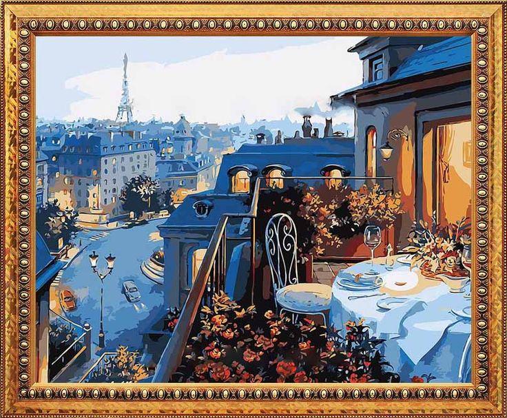 Багет, рамка для картины, оформление картины, картина по номерам, итальянская багетная рамка, багетная рамка, оригинальный подарок - картина Парижский балкон, художник Евгений Лушпин - Zvetnoe.ru - картины по номерам
