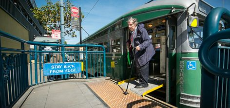 Disabled passenger uses streetcar accessibility ramp to disembark | March 11, 2013
