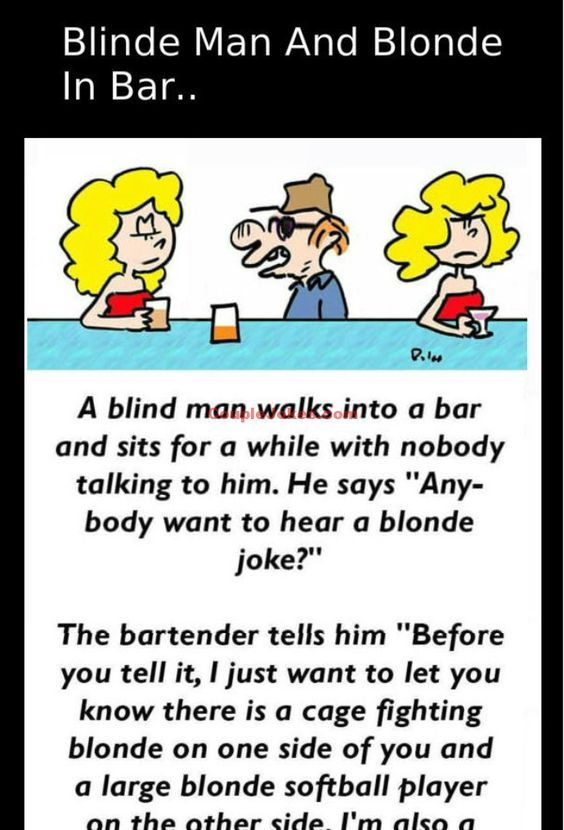 A blind man decided to tell blonde joke in a Bar   Blonde jokes, Best funny jokes, Funny jokes ...