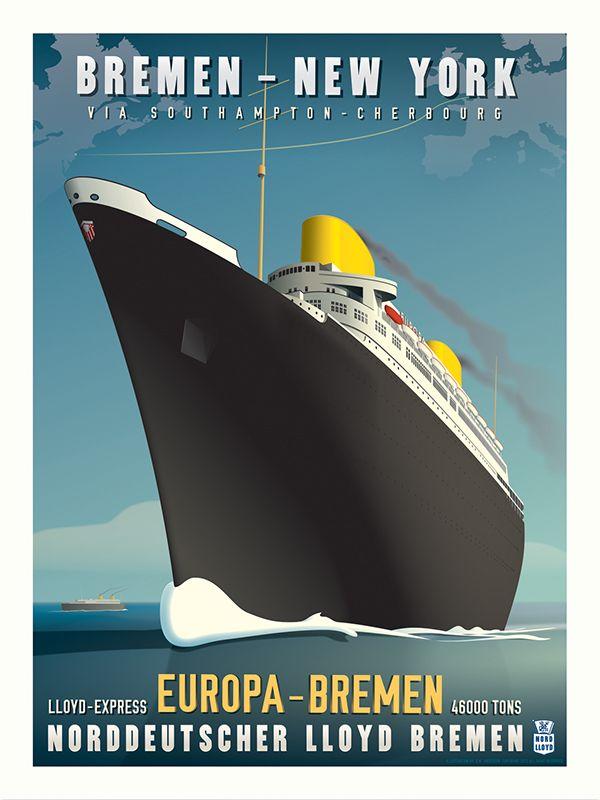 SS Europa Art Deco Travel Poster on Behance