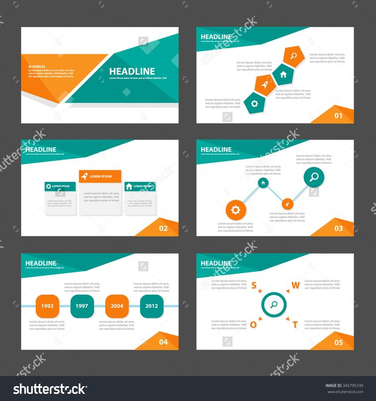 Green and Orange presentation template Infographic elements flat design set for brochure flyer leaflet marketing advertising