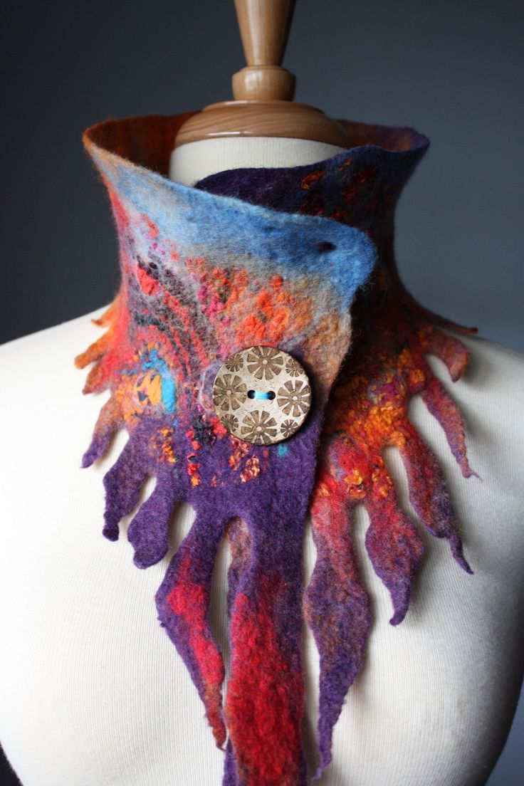 LOVE this felted scarf, from Vital Temptations on Etsy. Wouldn't this be great for an art gallery opening?