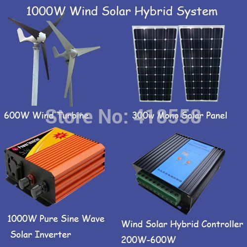 Panel solar 1000 w/600 w turbina de viento/solar panel 200 w/2000 w de onda sinusoidal pura inversor/600 w regulador híbrido solar del viento envíos gratuitos en todo el mundo