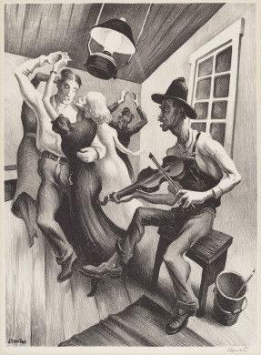 "Thomas Hart Benton, American, 1889-1975.  I Got a Gal on Sourwood Mountain, 1938 lithograph in black on wove paper image: 31.6 × 23.3 cm (12 7/16 × 9 3/16 in.) sheet: 41 × 30 cm (16 1/8 × 11 13/16 in.) Fath 1979, no. 19 Reba and Dave Williams Collection, Florian Carr Fund and Gift of the Print Research Foundation  2008.115.17. ""Sourwood Mountain"" was the name of a folk song associated with Appalachia and the northeast."