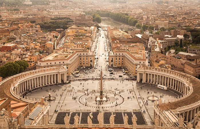 A bright sunny morning over Vatican City.