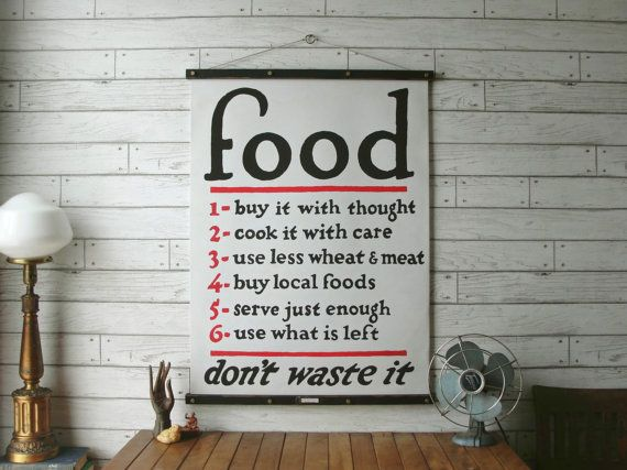 Food Chart / Vintage Reproduction / Canvas or Paper Print / Oak Wood Hanger with Brass Hardware / Organic Milk Paint & Wax Finish