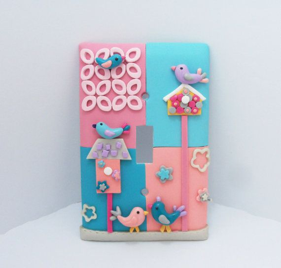 Light switch cover with bird houses  drb