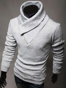 49d33f1d71032 Suéter de Hombre Casual Cuello de Alto Cerrada