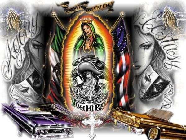 Lowrider, Mexican/American Flags with La Virgen De Guadalupe