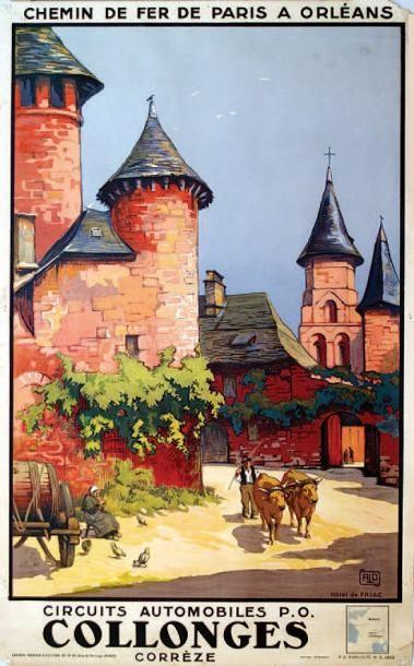 chemins de fer de paris à orléans - Collonges - Hôtel de Friac - illustration de Charles Hallo - Corrèze - France