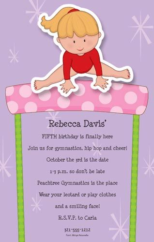 Gymnastics Party Theme: gymnast girl party invitation - Linda Kaye's Partymakers