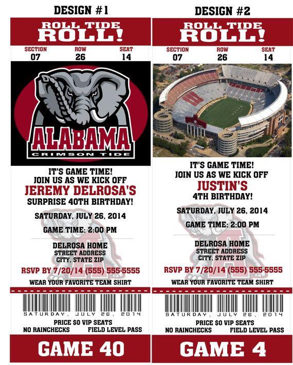 Printable Alabama Crimson Tide College Football Birthday Party Invitation NCAA Ticket Invitation Card Tickets Invitation