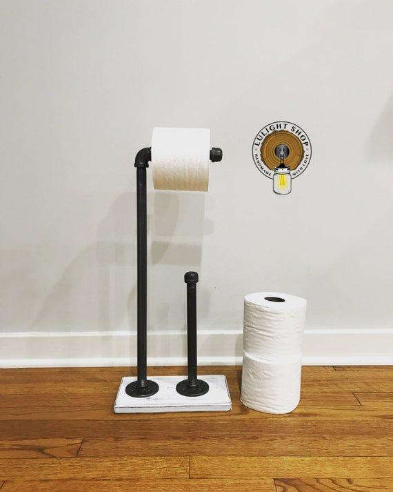 Whitewash Industrial Toilet Paper Storage Stand Wood Holder
