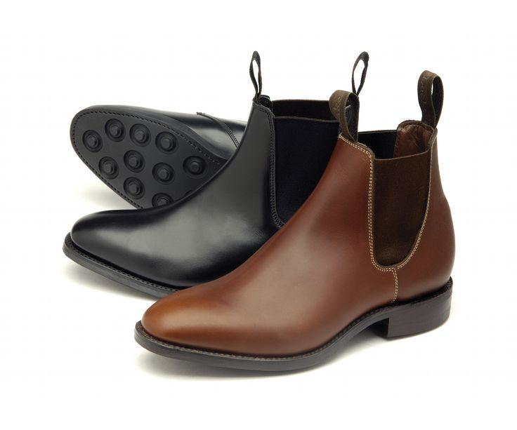 Chatterley' is a ladies Chelsea boot made from either black calf, or brown waxy leather, with a rubber studded welted sole. Chatterley is made in England.