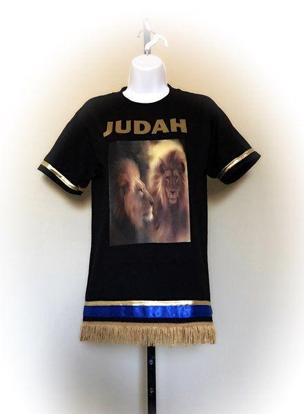 a108320f821 Judah Lions t-shirt with single armbands. 100% Cotton   Fringes + ...
