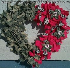 DIY Army wreath. Love this idea! Would do a circle frame and all ACUs