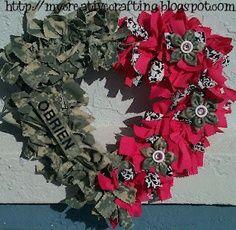 DIY Army wreath. Love this idea! Would do a circle frame and all ACUs