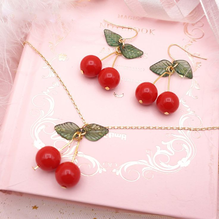 Todays Fashion Earrings Necklace on The Demon's Chest.Lolita Cute Cherry Earrings Necklace Sweet Beauty Jewelry Dc198 is a must to make an amazing outfit. You can wear it in any occasion - school, office, dates, and parties.
