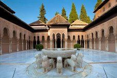 The Court of the Lions – Fountain – Water Jet . Alhambra of Granada