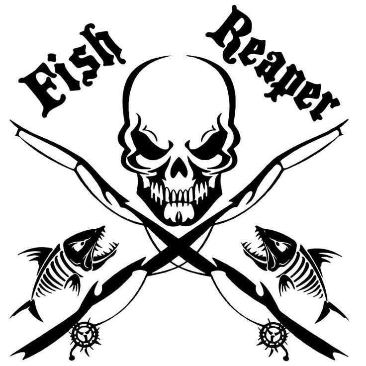 14.8cm*15.1cm Fish Reaper Skull Fishing Vinyl Car-Styling Stickers Decals Decor S4-0049