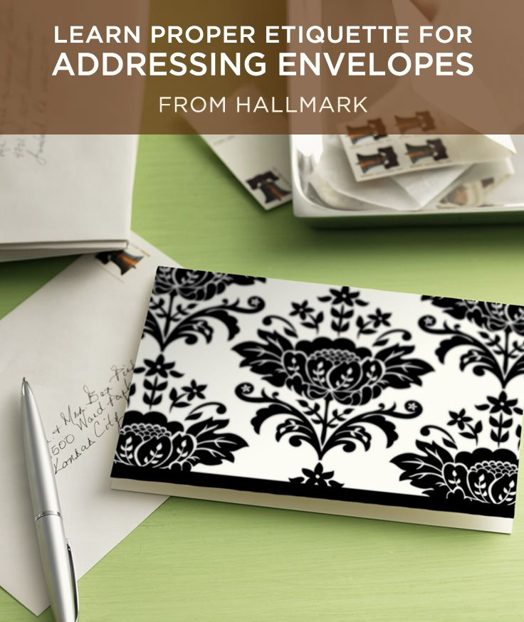 How to Address an Envelope | Learn the proper etiquette for addressing an envelope for everyone on your card list. Includes examples based on marital status, titles and more. #Hallmark #HallmarkIdeas