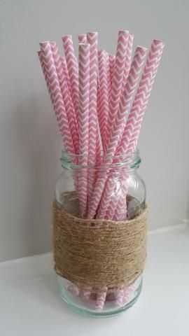 Pink and White Chevron Straws
