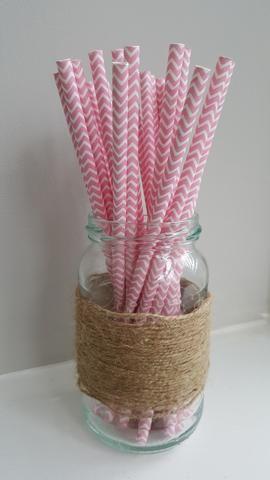 Pink and White Chevron Straws