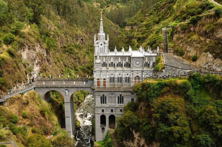 58. Near the Colombian city of Ipiales lies the Las Lajas Sanctuary basilica church. Straight out of a fairytale, it is built on a bridge that dangles over a gorge.