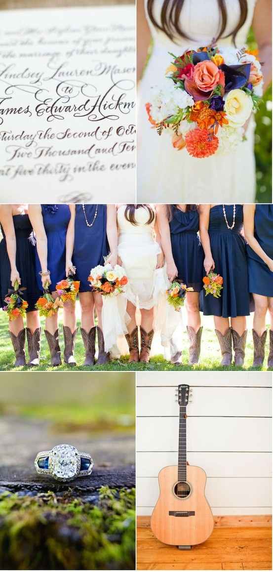 Cowgirl boots and a wedding dress, love this!!
