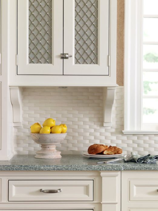 Pure White Ceramic Basketweave Backsplash Tile For A Fresh Accent With Texture French Country Kitchen