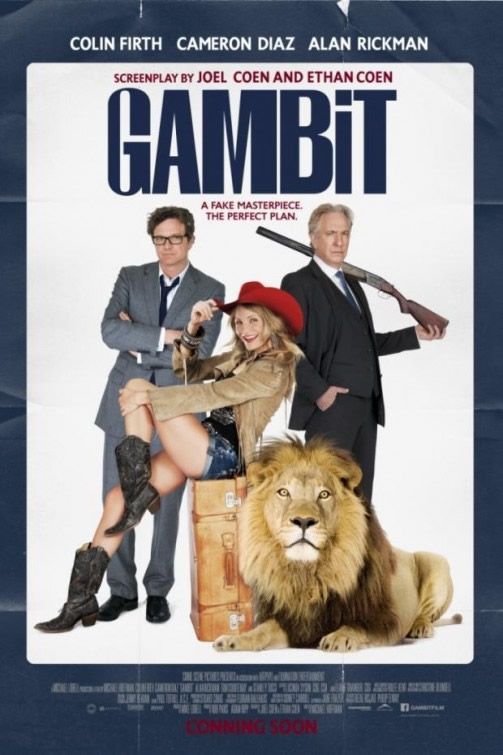 GAMBIT (?10/2013) Colin Firth=Harry Deane/Cameron Diaz=PJ Puznowski/Alan Rickman=Lionel Shahbandar/Tom Courtenay/Stanley Tucci=Martin Zaidenweber/Cloris Leachman=Grandma Merle/British art curator Harry Deane (Firth) devises a scheme 2 con England's richest man, Lionel Shabandar (Rickman), into purchasing a fake Monet. 2 bait his buyer, he recruits Texas rodeo queen (Diaz) 2 cross the pond & pose as a woman whose grandfather liberated the painting 2 end of WWII.