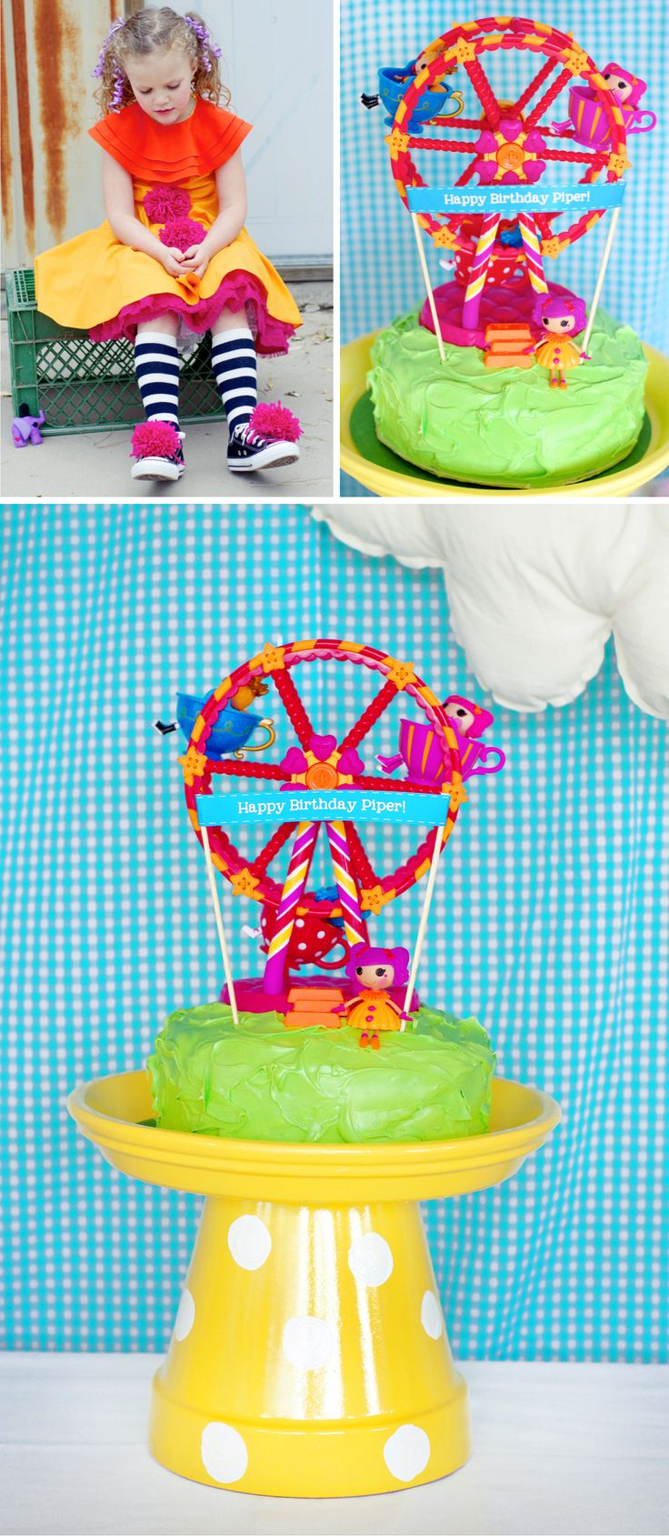 Lalaloopsy Birthday Cake stand! Turn a flower pot upside down,  paint it and Walla! Cute cake stand!#lalaloopsy