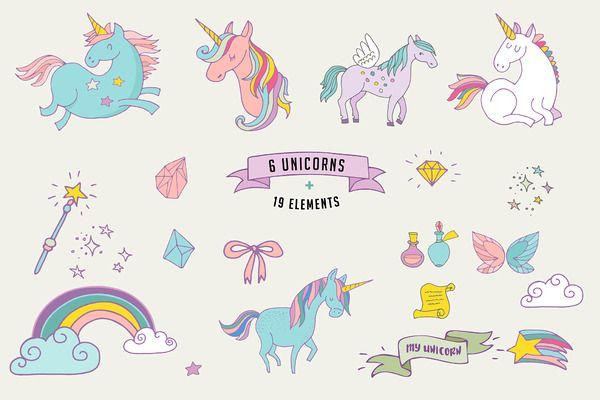 Magic Unicorns collection by Marish on Creative Market