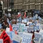 """#Therapy #NHS NHS protest: Tens of thousands march against 'hospital cuts'  Tens of thousands of people - including NHS workers, campaigners and union representatives - have marched in London to protest against """"yet more austerity"""" in the health service."""