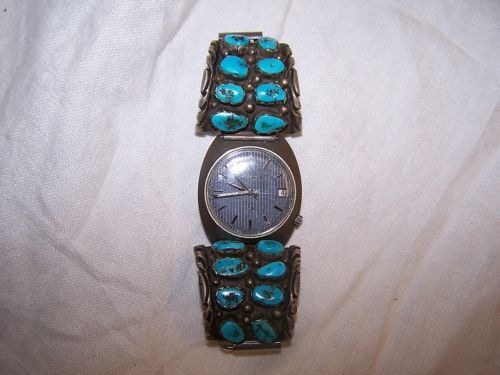 TURQUOISE-SILVER-BAND-Old-Pawn-Navajo-T-MOORE-VW-Volkswagen-5-YEAR-SERVICE-Watch