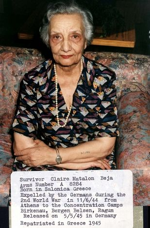 Greece, Claire Matalon Beja, a Holocaust survivor. Prisoner number: A-8284. Born in Saloniki, Greece. Deported by the Germans from Athens to the camps on 11/06/1944. Was interned in Birkenau, Bergen Belsen and Ragum. Released in Germany on 05/05/1945, and returned to Greece the same year