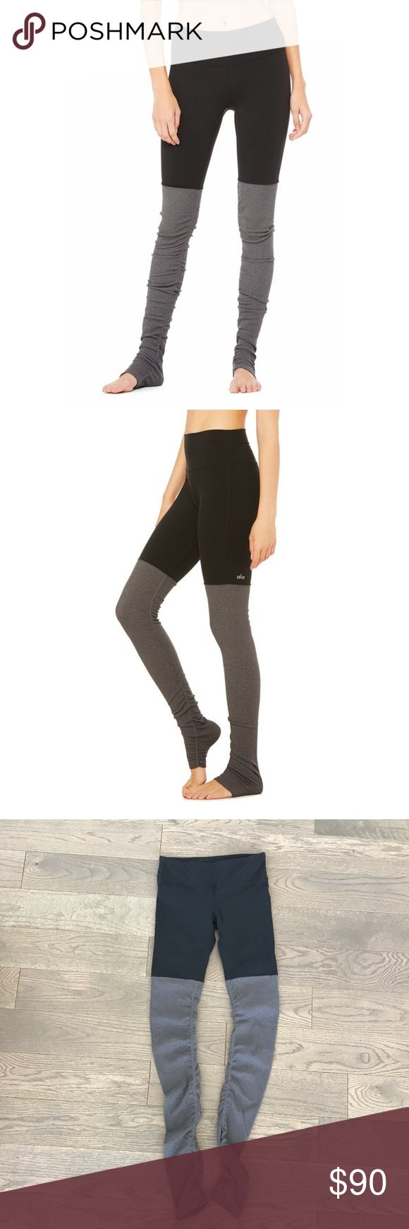"""Alo Yoga Goddess Legging in Black and Grey Tights worth worshipping, fit for a goddess like you. Our patent-pending Goddess Ribbed Legging features ultimate performance fabric that slims inner and outer thighs and seriously lifts your booty. New waistband engineering is tummy flattening and super flattering. Worn once once for a workout with the Alo team. In perfect condition. Front rise is 8 1/2"""".  NO TRADES. ALO Yoga Pants Leggings"""
