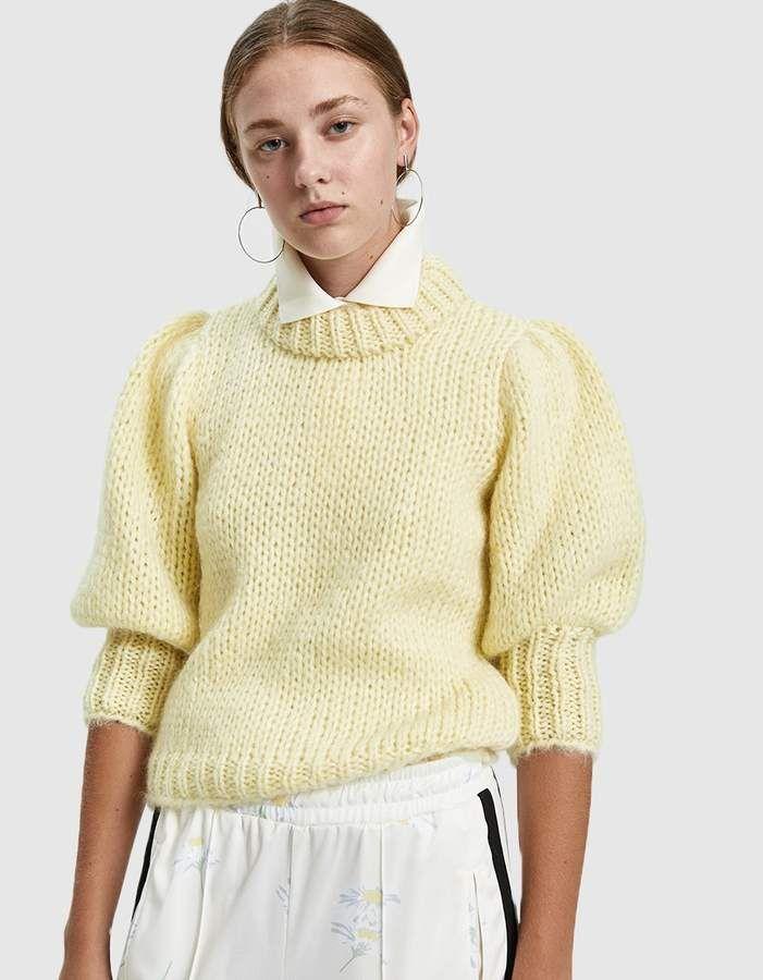 02b050cade87 GANNI   Julliard Mohair Puff Sleeve Sweater in Anise Flower in 2019 ...