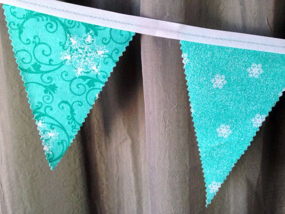 Holiday Fabric Bunting, Banner, Flag, Pennant - Christmas Snow Flakes, Aqua Blue Garland, Photo Prop, Room Decor, Party on Etsy, $15.00