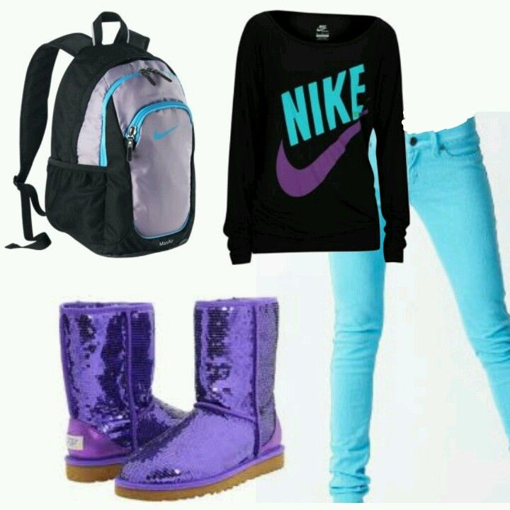 Nike + Colored Skinny Jeans + Uggs = u2665 THIS OUTFIT u2665 | Outfits | Pinterest | Snow Christmas ...