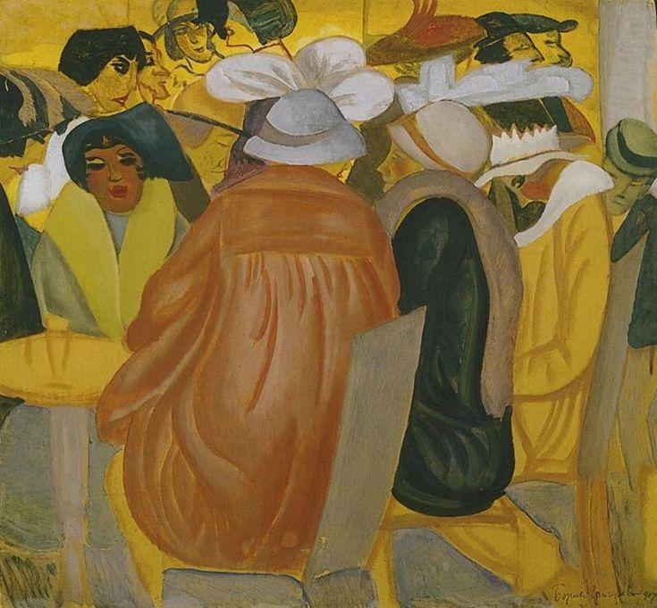Parisian Cafe, 1917 by Boris Grigoriev (Russian, 1886 - 1939)