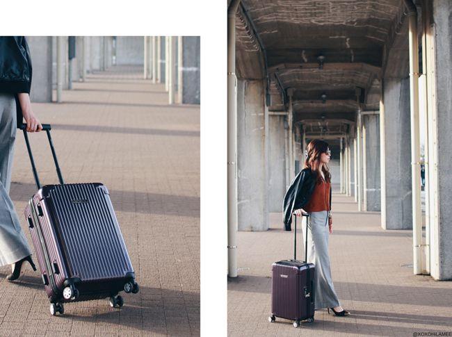 Japanese Fashion Blogger,Mizuho K,OOTD,UNIQLO Riders Jacket.Primeira classe Knit Tnank,ZARA gray wide pants,you+plus_gold toe black pumps,centurion suit case,zeroUV sunglasses,Zaful multi color crossbody bag,casual chic