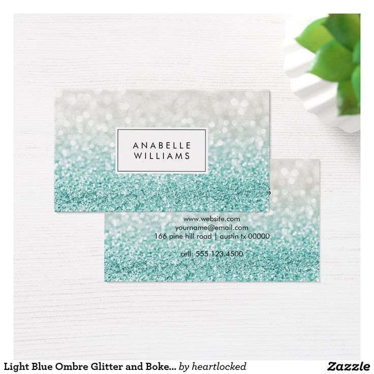 211 best business cards sold on zazzle images on pinterest light blue ombre glitter and bokeh pattern business card reheart Images