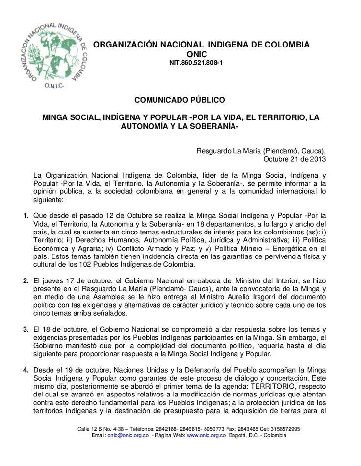 comunicado-minga-octubre-21-de-2013 by Aurelio Suárez via Slideshare
