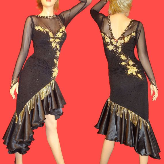Black and Gold Ballroom Competition Dress by DLDanceWear on Etsy, $599.99