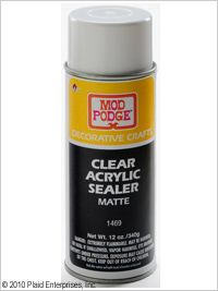 Mod Podge ® Clear Acrylic Sealer - Matte, 12 oz. Easy-to-use spray protects paint, lacquer, varnish, stain, glue, wood and other porous surfaces. Creates a strong, crystal clear and non-yellowing acrylic seal. Reduces tackiness, a common issue with decoupage projects. No runs or drips. Dries quickly.